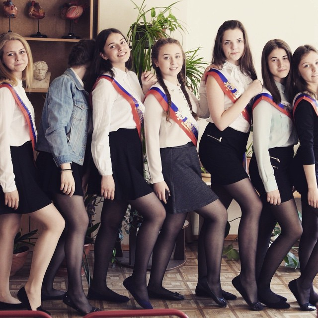 Russian high school teens